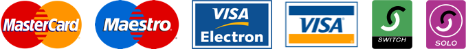 Logos of accepted credit and debit cards